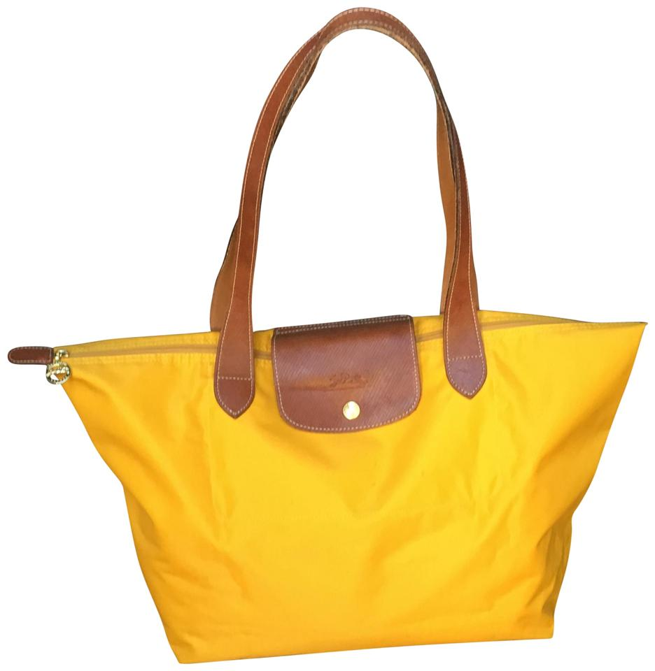 29ffcc346eaa Longchamp Le Pliage Large Shopping Handbag Yellow Nylon Tote - Tradesy