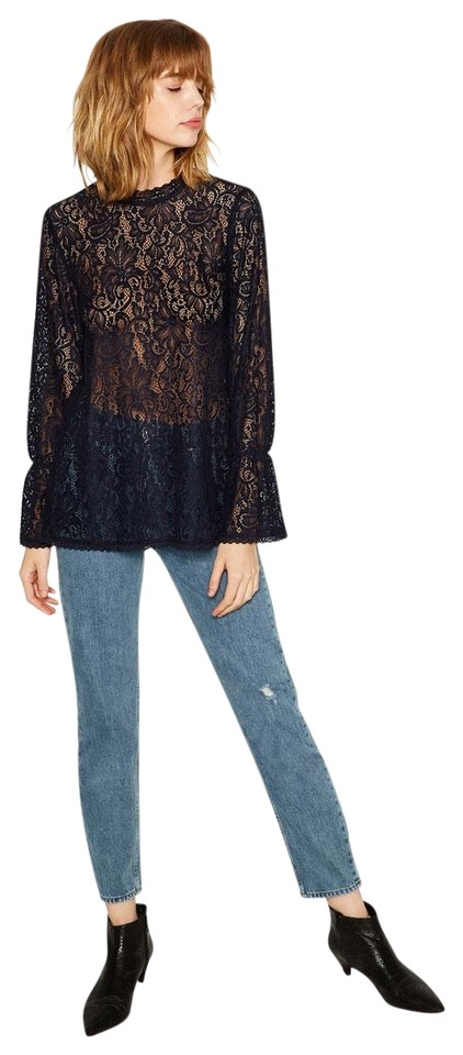 4a0f580c22469 Zara Navy Blue Floral Lace Long Sleeve Gathered Cuff with Back ...