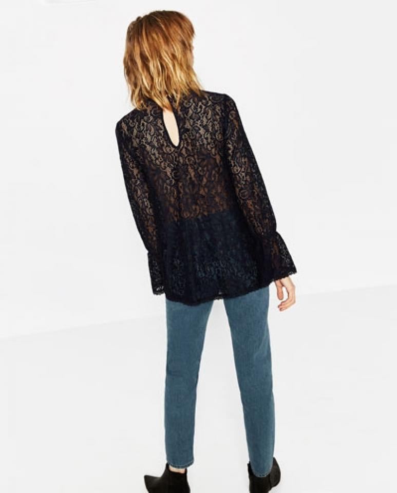 ceee7ebdce8e1 Zara Navy Blue Floral Lace Long Sleeve Gathered Cuff with Back Button Blouse  Size 6 (S) - Tradesy