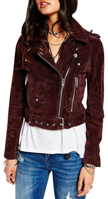 Item - Purple Morning After Plum Suede Leather Moto Jacket Size 2 (XS)
