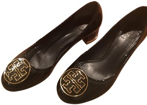 Tory Burch Patent Leather Gold Hardware Logo Black Pumps