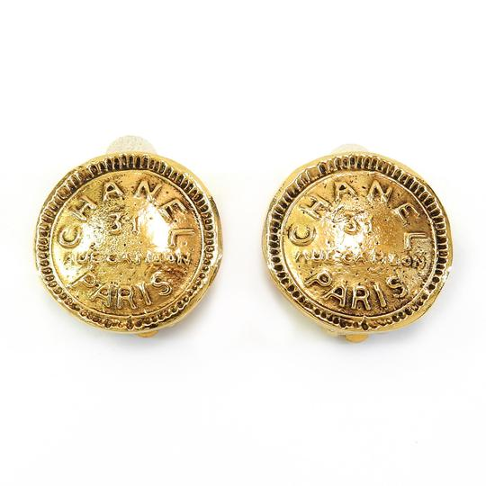 Chanel Vintage CHANEL Gold Plated Large Medallion Round Clip on Earrings