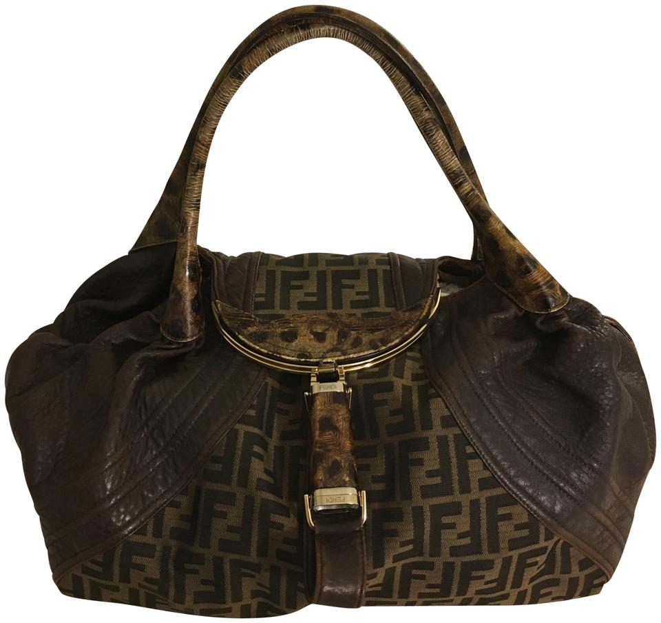 9b7e076ca2b1 Fendi Zucca Print Limited Edition Spy with Tortuga Handles Brown Leather  Shoulder Bag
