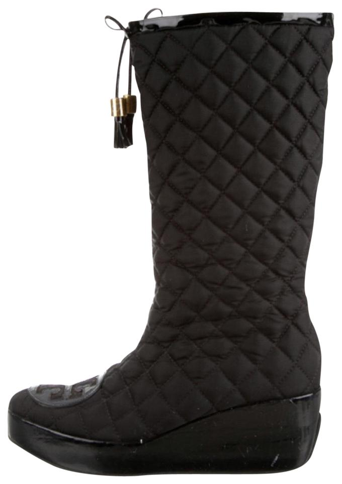 3b9359a48a835c Tory Burch Black Gigi Logo Quilted Tassel Wedge Platform Patent Boots  Booties