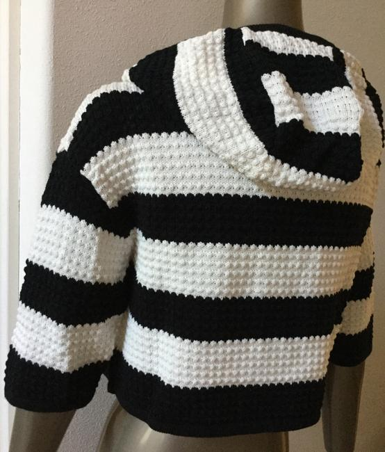 Juicy Couture Cotton Hooded Bold Stripe Cropped Sweater