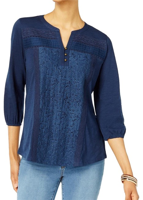 Preload https://img-static.tradesy.com/item/22648670/style-and-co-navy-lace-panel-blouse-size-22-plus-2x-0-3-650-650.jpg