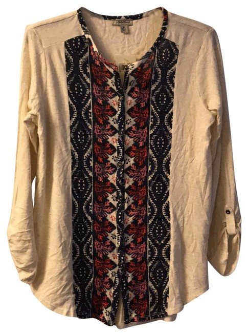 Lucky brand beige abstract print button down top size 8 m for Lucky brand button down shirts