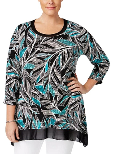Preload https://img-static.tradesy.com/item/22648724/jm-collection-black-green-feather-abstract-tunic-size-16-xl-plus-0x-0-3-650-650.jpg