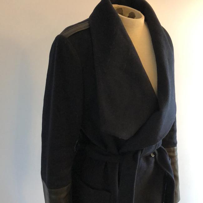 BCBGeneration Sexy Pea Leather Detail Navy Pea Bcbg Sexy Wrap Navy Wrap Trench Coat