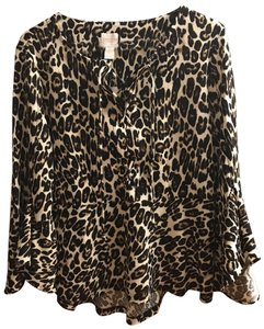 Chico's Cheetah Print Flared Dressy Laced Up Front Top Black, brown & tan