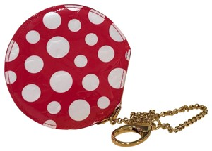 Louis Vuitton Kusama Coin Dots Vernis Wristlet in red/white
