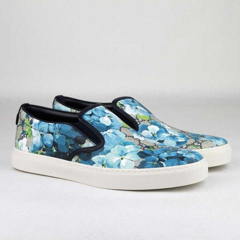 9797d959a04 Gucci Blue Men s Bloom Print Flower Slip On Sneakers 13g  14 407362 8471  Shoes Image. 12345678