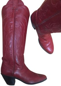 Cowboy Boots Leather Embroidered Fire Engine Red Boots