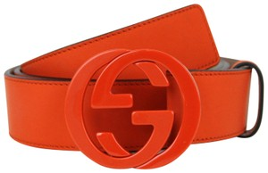 Gucci GUCCI Leather Belt w/Interlocking G Buckle Orange 110/44 223891 7519