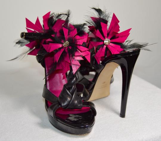 Damiano Marini Floral Crystal Patent Leather New Black/Fuchsia Platforms