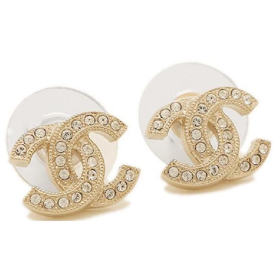 Chanel Brand New Gold Classic Cc Coco Swarovski Crystals Full Set Earrings
