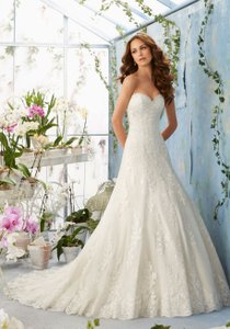 Mori Lee Ivory Satin Lace 5404 Vintage Wedding Dress Size 10 (M)