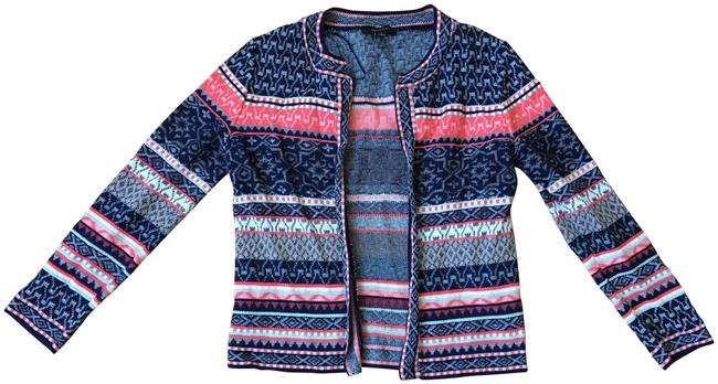 Atmosphere Printed Open Knit Tribal Print Bright Colors Cardigan