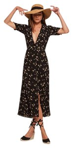 Black floral Maxi Dress by Reformation Boho Hippie New With Tags Midi