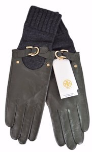 Tory Burch NEW Tory Burch Women's Olive Grey Leather Cashmere Wool Gloves 7