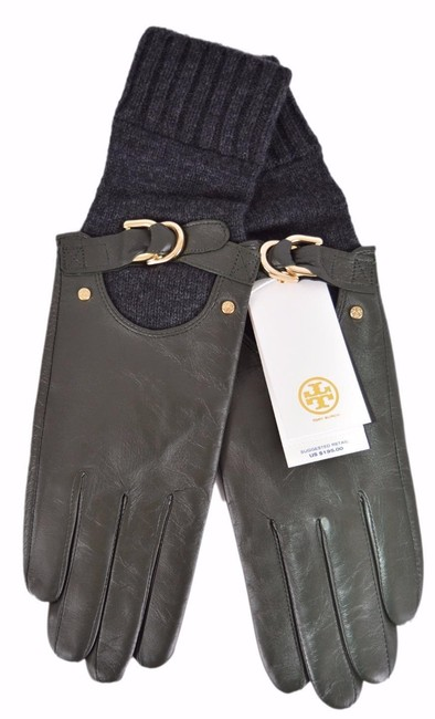 Item - Olive Grey New Women's Leather Cashmere Wool Gloves 7
