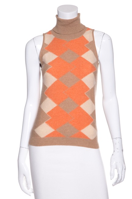 Preload https://img-static.tradesy.com/item/22649702/brunello-cucinelli-tan-orange-argyle-pattern-sweaterpullover-size-8-m-0-1-650-650.jpg