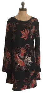 Band of Gypsies short dress black multi Shift Floral Cut-out Bohemian Woven on Tradesy