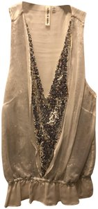 Robbi & Nikki by Robert Rodriguez Sequins Silver And Gold Sequin Sparkle New Years Top White