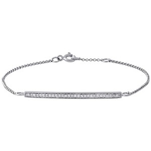 """Jewelry For Less 14K White Gold Diamond Bar Bracelet 7"""" Ladies Rolo Chain Link .15 Ct."""