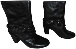 Aerosoles Rubber Bottom Ankle Leather Zipper black Boots