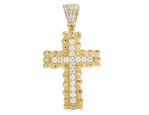 Jewelry Unlimited 10K Yellow Gold One Row 2.5CT Diamond Cross Pendant 2.2 Inches
