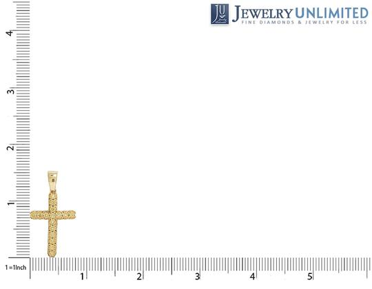 Jewelry Unlimited 10K Yellow Gold One Row Canary Diamond Cross Pendant 0.40CT 1.5