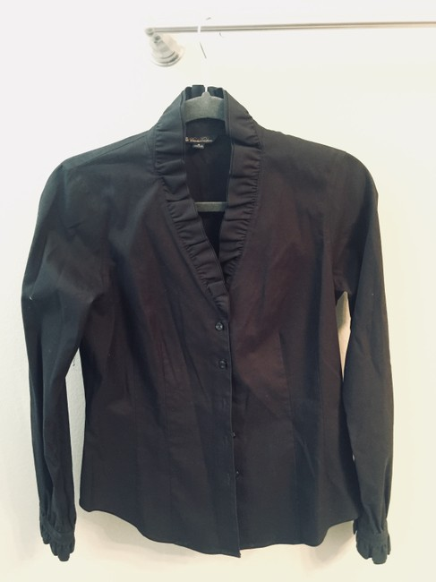 Brooks Brothers Silk Polyester Top Black