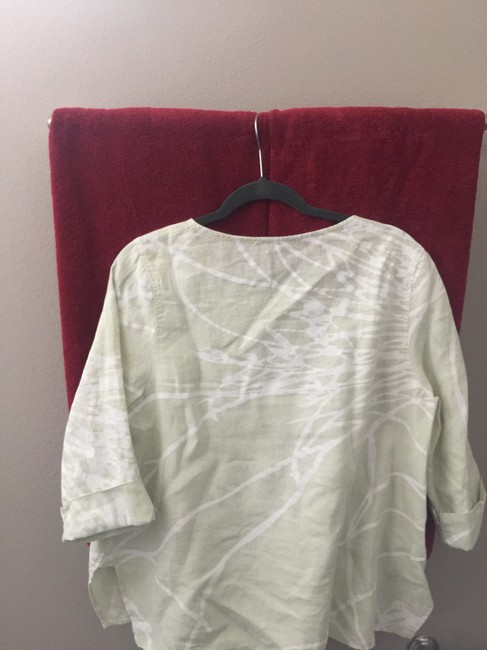 OSKA Linen Top White and Pale Green