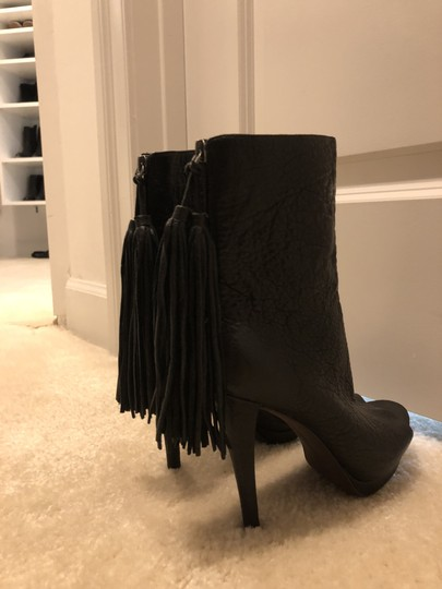 Vera Wang Lavender Label Peep-toe Fringe Tassels Ultra High Platform Black Boots