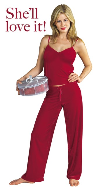 Other Lounge Velour Camisole Pajamas Sexy Top Red