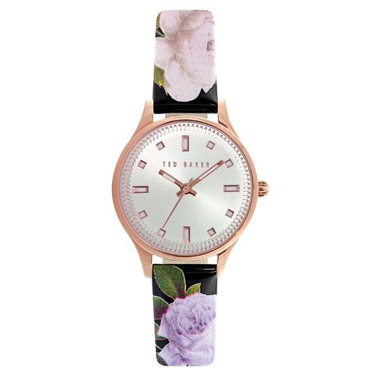 Ted Baker Rose Gold PVD Plate Silver Dial Leather Floral Strap