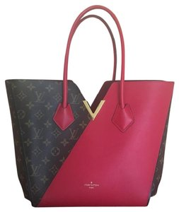 Louis Vuitton Leather Monogram Canvas Gold Hardware Tote in LV Logo/Red