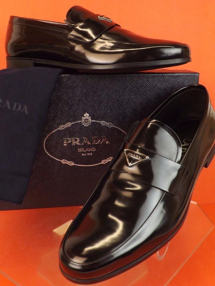 Prada Black Glazed Leather Metal Plate Logo Loafers 5.5 Us 6.5 Shoes ... adc131d38e0f