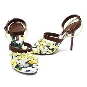 Louis Vuitton Floral Leather Print Strappy Heels multi Sandals