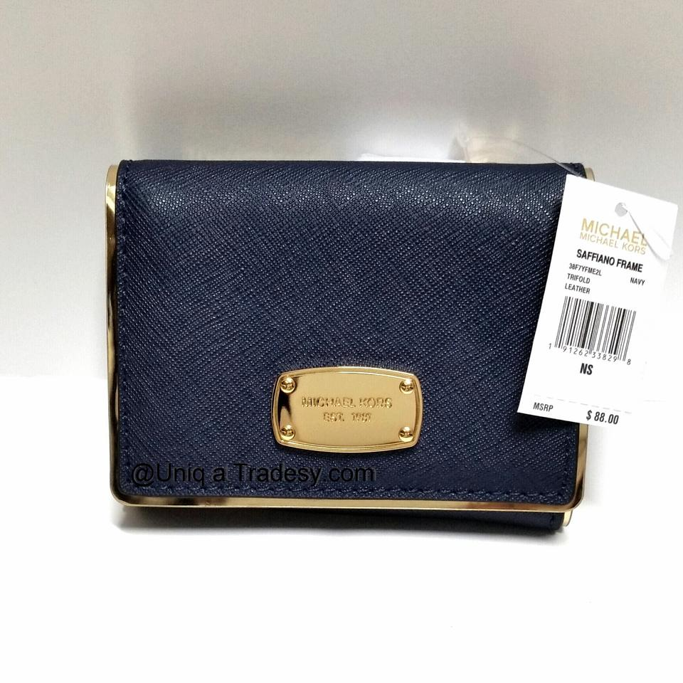 d9aa489ccd62 Michael Kors __ L A S T 1 __ S A L E __ Navy Blue Leather Gold Tone  Hardware ♥♥♥sale♥♥♥ Mk Saffiano Frame Billfold Coin Change Purse Wallet