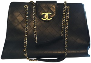 Chanel Vintage Gold Hardware Black Travel Bag