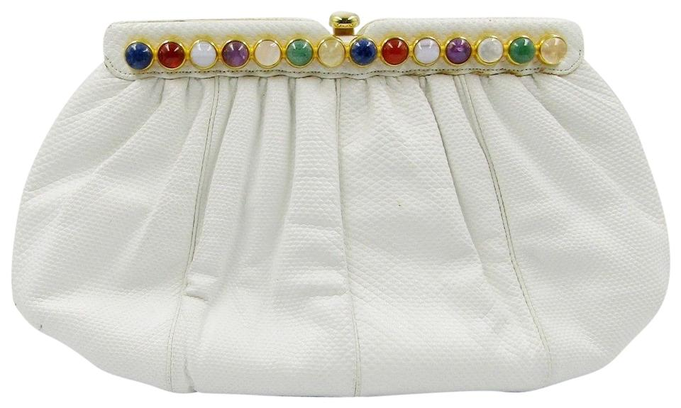 numerous in variety new product clear-cut texture Judith Leiber Vintage Lizard Semi Precious Stones White Reptile Skin  Shoulder Bag