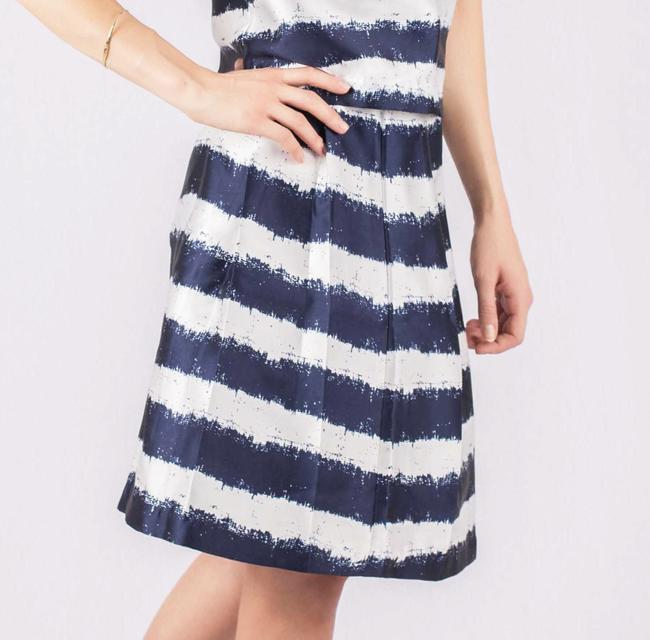 Colsten Striped Sateen A-line Print Skirt