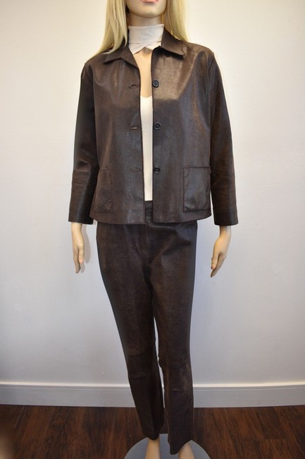 Rozae Nichols ROZAE NICOLS WOMEN'S 100% GENUINE LEATHER PANT SUIT SIZE S/M