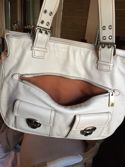 Marc Jacobs Leather Silver Hardware Tote in Cream with cognac stitching