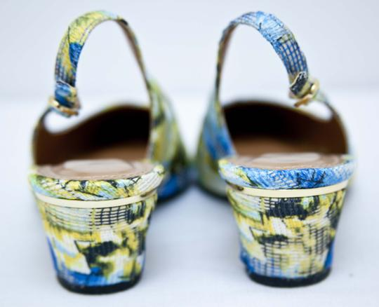J. Reneé Gold Trim Blue, Green Yellow Pumps