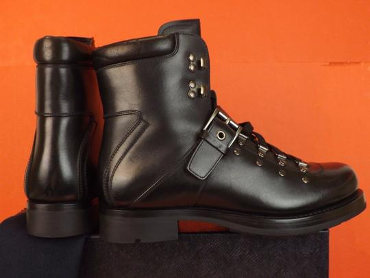 Prada Black Leather Belted Buckle Lace Up Shearling Combat Boots 6 Us 7 Shoes