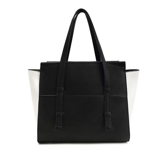 Diamond Heart Faux Leather Tote in Black
