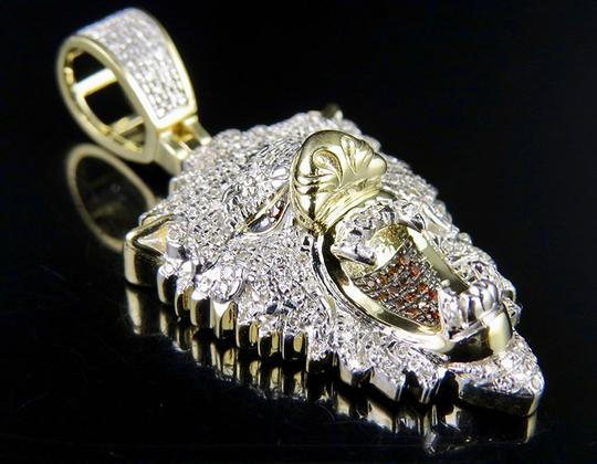 Jewelry Unlimited 10K Yellow Gold Roaring Lion Red Treated Diamond Charm Pendant 1.5